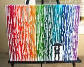 Lesbian Wedding Gift, Lesbian Art, Rainbow Raindrops Melted Crayon Art Wax Painting, Lesbian Girlfriend Gift, Couple Silhouette Art, 16x20