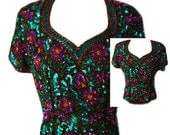 Vintage Evening Blouse in Green and Purple Sequins and Beading by Oleg Cassini - Fits Size Med to Large