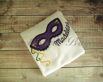 Mardi Gras Mask Personalized Appliqued Ruffle T-shirt for Girls