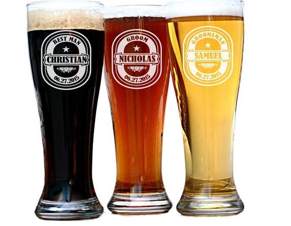 Customized Wedding Beer Glasses : Personalized Beer Glasses, Custom Engraved Pilsner Glass, Wedding ...