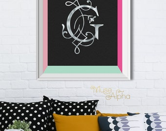 Popular items for letter g wall art on etsy for Letter g wall decor