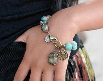 Mala Bracelet, Boho Bracelet, Green Aventurine, Beaded Bracelet, Jasper Bracelet, Beach Bracelet, Gemstone Bracelet, Yoga Bracelet BR453