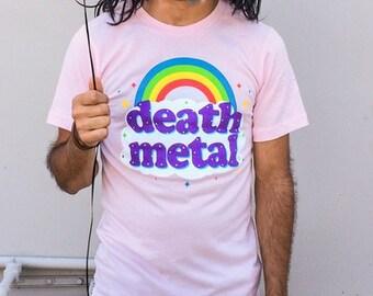 Death Metal Rainbow (GT2999-101LPK) Men's T-shirt. Rainbows, death metal, heavy metal, mens pink t-shirts, funny t-shirts, funny mens shirt.