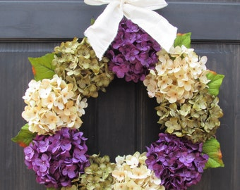 Front Door Wreath, Hydrangea Wreath for Fall, Door Wreath, Summer Door Wreath, Spring Door Wreath, Fall Wreath, Summer Front Door Wreath