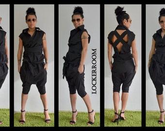 Black shirt / Black top / black extravagant top / Open back shirt