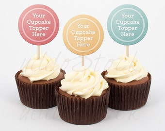Cream Cupcake Mock up Mockup w/ White Background, Cupcake Topper Mockup, Template, Stock Photo   Styled Photography