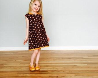 girls dress girls back to school dress girls a line dress toddler dress shift dress towno 1960s dress retro dress collared dress fox dress