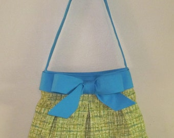 Handmade Over the Shoulder Pleated Bow Handbag, Medium Green and Blue