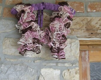 Ruffle scarf - Flamenco scarf - Summer scarf - Hand knitted ladies ruffle scarf in shades of pink  brown  cream