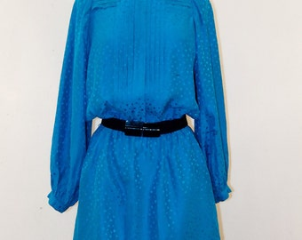 80s Dotted Turquoise silky dress