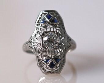 Antique Art Deco Ring Belle VS1 Diamond Engagement Ring *.53ct*  ATL #130