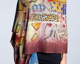 Printed wool and silk-blend scarf / wool silk shawl / printed scarf