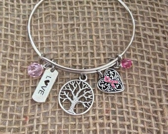 Breast Cancer Awareness Bangle Bracelet
