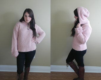 SALE 25% off vintage 90's pink fluffy soft pastel grunge sweater ruffle sleeves toggle clasp hoodie