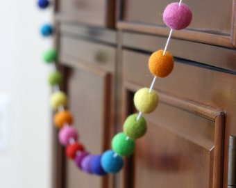 Rainbow Felt Ball Garland, Girl or Boy Baby Shower Pom Pom Garland, Banner, Party Decor