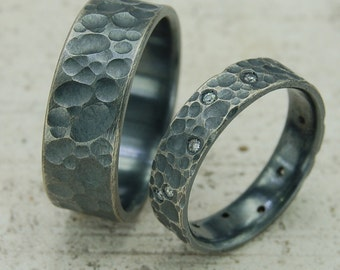 Wedding Band Set, Wedding & Engagement Ring, Silver Wedding rings, Engagement Ring, Anniversary Rings, Promise Rings, Hammered Bands, Bands