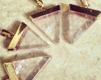 Gold & Quartz Necklace, Gold Dipped Quartz, Quartz Pendant, Crystal Pendant, Quartz Necklace, Crystal Necklace, Crystal Necklace.