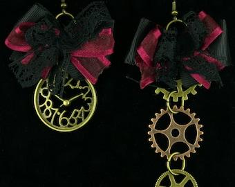 Steampunk Clock/Gears Charm Earrings