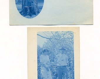 Two RPPC Postcards, Real Photo Cyanotype Blue, Young Girl, Man and Woman, Circa 1910