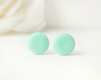 Mint round Stud earrings mint studs, mint earrings, round mint studs mint posts, geometric mint stud earrings polymer clay studs button