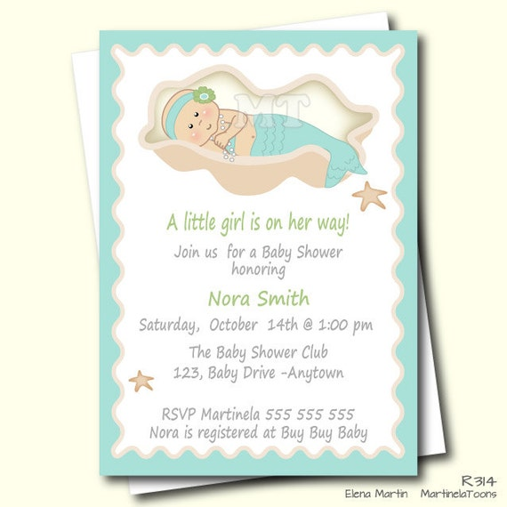 diy mermaid baby shower invitation aqua blue by martinelatoons, Baby shower