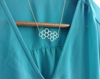 Geometric Honeycomb Necklace, Hexagon Gold Necklace, Statement Jewelry, Geometric Jewelry, Cool Necklace, Friendship Necklace, Gift Under 25