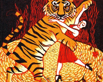 "Signed Giclee 32x32cm Limited Edition ""Tiger Argentina"" Dancing Animal Print for those who love tigers and love to Tango! By Laura Robertson"