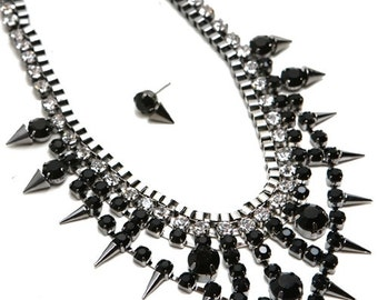Silver & Black Spiked Jewel Necklace