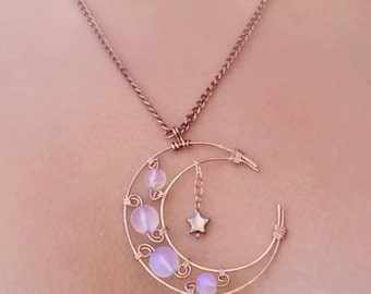 Steampunk Brass Crescent Moon Necklace Embellished with Opalite Bead Curls and Black Star Dangle Charm