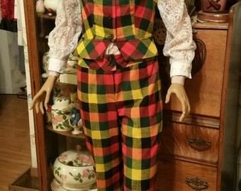 Cute Vintage 1970s Tami  Original 2 Piece Plaid Pant Outfit Vest and Pant