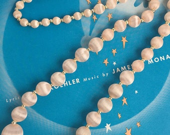 Blush Graduated Silk-Wrapped and Gold Bead Necklace