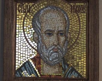 Byzantine Orthodox Icon Saint Nicolas Mosaic icon Religious gifts Mosaic home decor Christian Icon art Religious icon Religious mosaic art