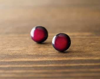 Red earrings - shade of red and black - stud earrings