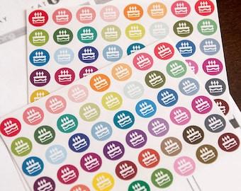 48 birthday stickers, party sticker, planner stickers, reminder birthday cupcake, eclp filofax happy planner kikkik