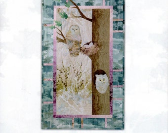 """Owl Quilt Pattern by McKenna Ryan """"Nestled In"""" Block SIX (21 x 35"""") in the Forest Hollow Quilt - Can be made to be on its own! NEW!"""