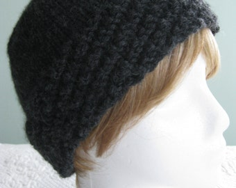 Hand Knit Hat Charcoal Grey