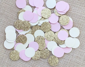 Pink, Gold Glitter, Cream Circle Confetti, Wedding, Bridal Shower, Baby Shower,Table Confetti,Circle Confetti, Pink Decor, Table Decor, Gold