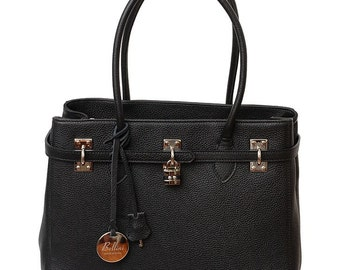 Ansano Satchel, large Made in Italy Leather Handbag that can be carried both in hand or over the shoulder.