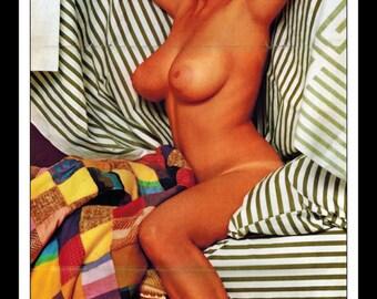 "Mature Playboy October 1966 : Playmate Centerfold Linda Moon Gatefold 3 Page Spread Photo Wall Art Decor 11"" x 23"""