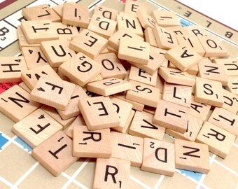 Scrabble tiles Vintage 48 Random Letters Wood Game Piece Scrapbooking Supply Personalized Crafting Embellishment Jewelry, 5.50 to ship to US
