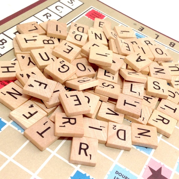 Scrabble Tiles Vintage 48 Random Letters Wood Game Pieces