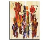 Red Orange Purple Art Abstract Wrap Canvas Print, Beige Original Painting Tribal Couple Art, Large Paint Strokes 30x24 Bride Shower Art Gift