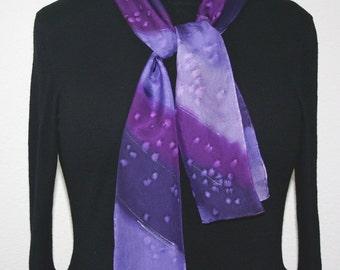 Purple Silk Scarf. Lavender Hand Painted Silk Shawl. Violet Handmade Silk Scarf SERENITY STEPS 8x54 Birthday, Anniversary Gift. Gift-Wrapped