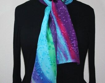 Green Silk Scarf. Teal Hand Painted Silk Shawl. Purple Handmade Silk Scarf  LAVENDER VALLEY. Size 8x54. Birthday, Anniversary Gift.