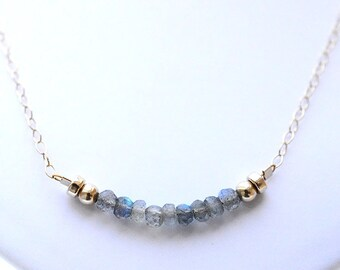 Delicate Labradorite Bar Necklace Gold Necklace Dainty Gold Necklace Gemstone Layering Bar Necklace Labradorite Jewellery Gemstone Jewelry