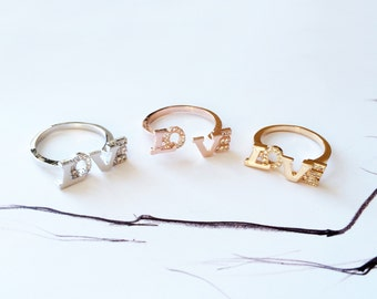 Gold LOVE Ring Stack Band Ring Diamond Ring Letter Band Open Ring  Knuckle Ring Adjustable Ring Wedding Anniversary Bridal Ring Jewelry