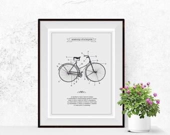 Vintage Bicycle anatomy art print - Wall art dorm illustration - Custom background color - Bike parts Bicycle retro art print - NG76