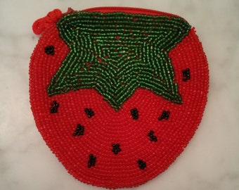 Strawberry Beaded Coin Purse