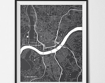 City Map Art Prints & State Posters by MainStreetMaps on Etsy Map Of University In Cincinnati Ohio on map of university of louisiana lafayette campus, map of cinn ohio, uc campus map ohio, map off cinn oh, map showing ohio counties,