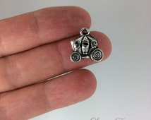 6 Fairy Tale Carriage Charms- 13x15 mm - Antique Tibetan Silver Tone- 3D Charm- Princess Charm- Transport Theme Ref. 490